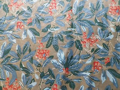 Vintage Laura Ashley Cotton Interiors Fabric 'Blueberry' Leaves Berries on Gold