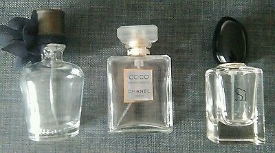 Empty perfume bottles Channel, Armani SI, Hollister