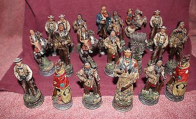Chess - Collectible Hand Painted Cowboy & American Native Indian Wild West Set