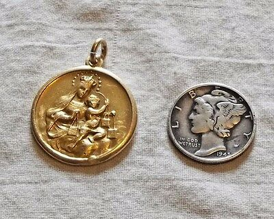 VINTAGE 14k Gold OUR LADY Mt Carmel of the Holy Scapular / POPE PAUL IV Medal