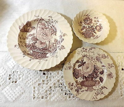 3 Pc Clarice Cliff Royal Staffordshire England Charlotte Lavendar Transferware