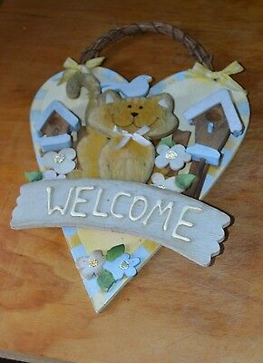 Collectable Cat Wall Hanging Welcome Bird House Heart Faded Flower China