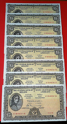 Ireland Rare Old Set Of 8 Consecutive Lady  Lavery  £5  Pound 1975  Banknote's