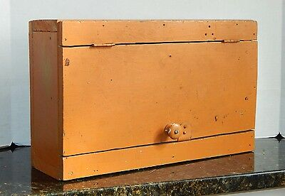 Small Antique Primitive Painted Pine Wall Cabinet GREAT ORANGE COLOR!