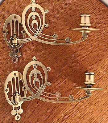 Pair of Antique Arts and Crafts/Art Nouveau Edwardian Brass Candle Wall Sconces