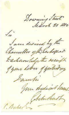 George Arbuthnot - Treasury official - 1850 ALS from Downing Street