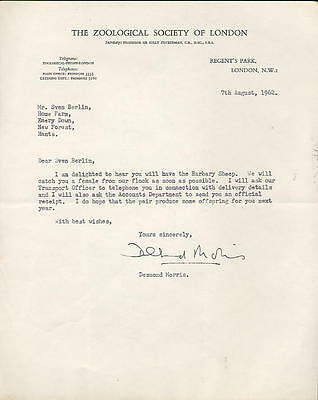 Desmond Morris - zoologist - 1962 letter: we will catch you a Barbary Sheep