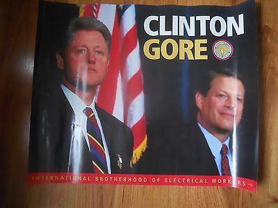 CLINTON - GORE   Election Poster 18 x 22  single sided