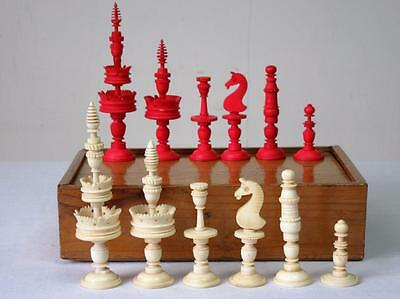 ANTIQUE CHESS SET LARGE 19th C. GERMAN SELENUS PATTERN KING 110mm + GAMES BOARD