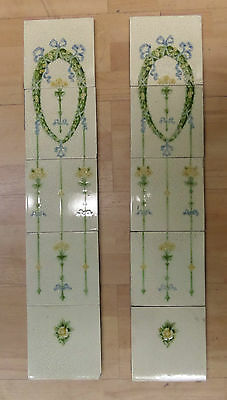 Set Of 10 Victorian Continuous Fireplace Tiles - Good Condition