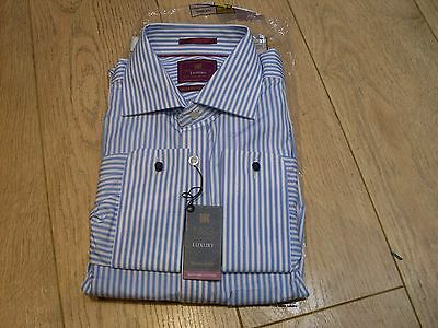 "M & S Mens Luxury Egyptian Cotton Dress Shirt - Blue/white - Collar 16.5"" - Bnwt"