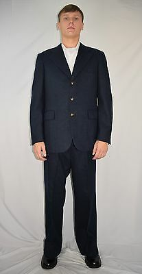 Vintage 60's Men's JOHN HAIR Rat Pack Navy Blue 100% Wool Suit 42 R 37 x 29 +3