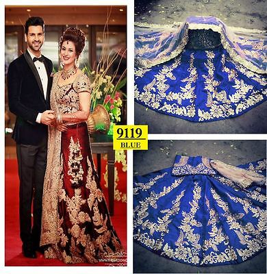 Beautiful Blue Bangalore Silk Bollywood Lehenga Choli Designer and wedding wear