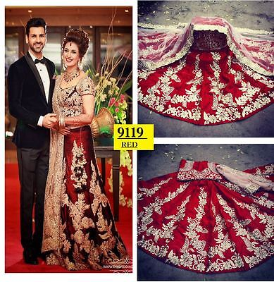 Beautiful Bangalore Silk Maroon Bollywood Lehenga Choli Designer N wedding wear