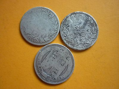 GT BRITAIN - 3 x VICTORIAN SILVER SHILLINGS DATED 1868,1878 & 1890