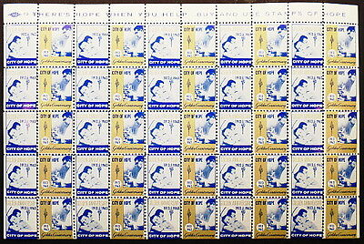 1963 CITY OF HOPE Golden Anniversary Full Sheet 40 Seals / Stamps