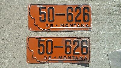 Set of 1936 Montana License Plates