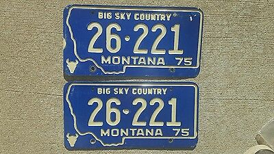 Set of 1975 Montana License Plates