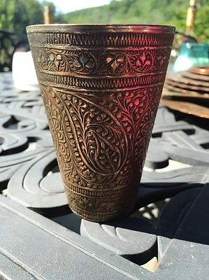 Antique Indo Persian Cup Paisley Pattern Hammered Brass Cooper Inlaid