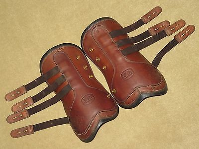 L@@K~Neoprene Lined Leather BEVAL Open Front Jumping Boots~Stud Closure~Sz 4~EUC