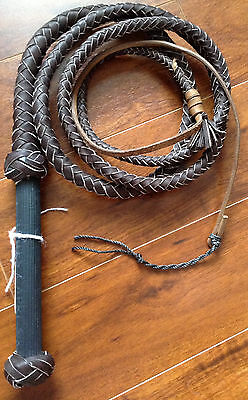 10 foot 8 plait Dark Brown PRO Rodeo BULL WHIP  New Real Leather Bullwhips