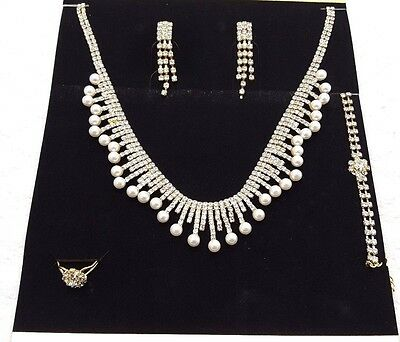 Bridal Wedding Party Prom Jewelry Set Crystal Rhinestone Necklace Ring Earrings*
