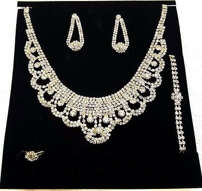 Bridal Wedding Party Prom Jewelry Set Crystal Rhinestone Necklace Ring Earrings!