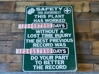 Industrial SAFETY Days Without A Lost Time Injury & Previous Record Sign