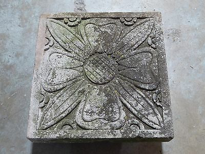 Large Indiana Limestone Building Rosette Art Deco Flower Garden Ornament Salvage