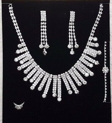 Bridal Wedding Party Prom Jewelry Set Crystal Rhinestone Necklace Ring Earrings#