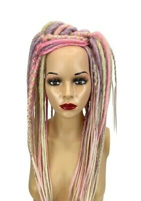 Lavender Pink & White Dread Fall Burning Man Halloween Cosplay Pastelgoth Fairy