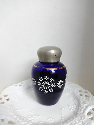 RARE COBALT BLUE loose Tea Holder BOTTEL Gold Rim Good Vintage Condition, Cobalt