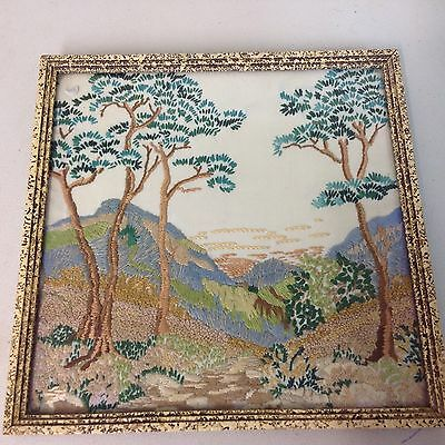 Gorgeous Vintage Antique Hand Embroidered Framed Picture Amazing Detail