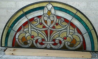 Heavy thick stained leaded bevelled semi circular half round glass transom
