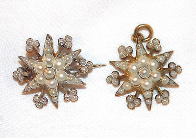 "2 Pearl & Silver Pendant & Pin Brooches ""Star Flower"" Victorian Estate Antique"