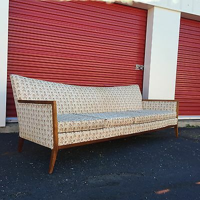 Mid Century Modern Long Sofa With Wood Frame