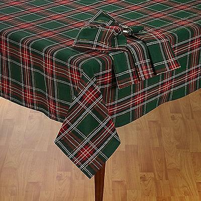 "Green & Red Plaid Christmas Decor Tablecloth / Shimmering Gold Stripes 70"" ROUND"