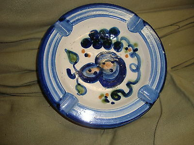 MA HADLEY Handpainted 7in Round Ashtray Grapes Pear