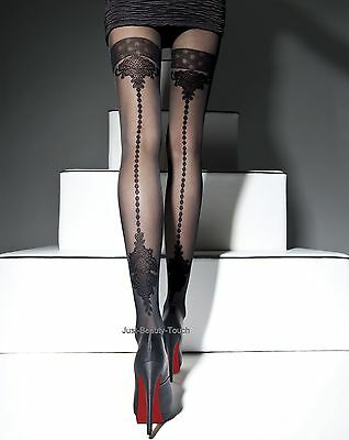 MOCK SUSPENDER STOCKINGS-TIGHTS-Fiore Apriel 40 DENIER Back Seamed Effect