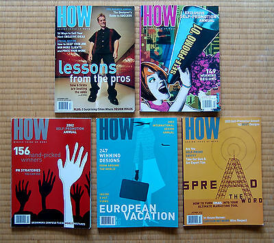 HOW design magazine 5 issue lot advertising self-promotion graphics photography