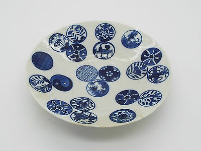 Antique 19thc Chinese Porcelain Saucer Blue & White Hand Painted