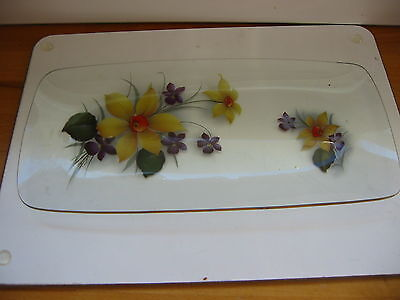 Vintage Glass Tray.  Flower Design Glass Tray With Gold Edge  13 X 6 In