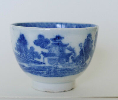 Early Blue & White Transfer Printed Tea Bowl - Unmarked