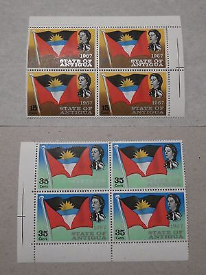 Antigua  - 2 x 4 Blocks of QEII MNH 1967 stamps