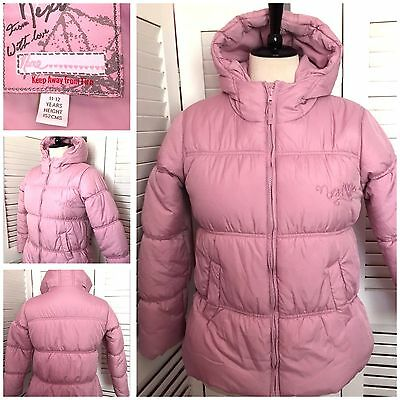 NEXT Pretty Pink Padded Quilted Hooded Puffa Jacket Age 11-12 Height 152cm