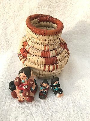 Miniature Tiny Native American Handmade Storytellers + Basket by Whitefeather