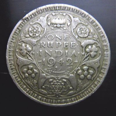 1942 India .500 Silver One Rupee Coin