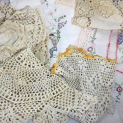 Lot hand embroidered crocheted linens doiles table runners Etc
