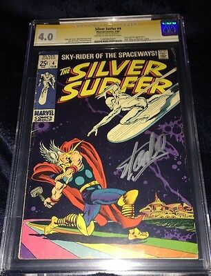 Silver Surfer #4 CGC 4.0 SIGNED BY STAN LEE! Thor & Loki First App John Buscema