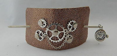 Leather Steampunk Gears Hair Barrette w/ Silver Hair Stick New Accessories